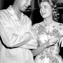 "James Stewart and Grace Kelly on the set of ""Rear Window"", 1954"