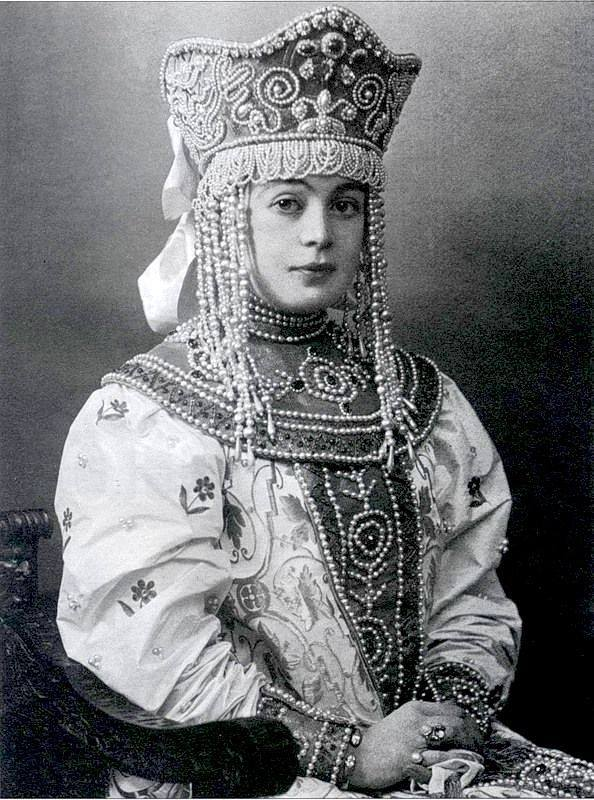 Princess Vera Maximilianovna Kudasheva in traditional Russian costume at the fancy dress ball of 1903 held in the Winter Palace by Nicholas II