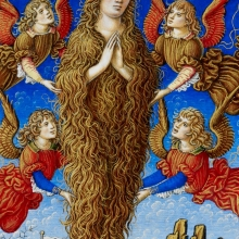 The Assumption of St Mary Magdalene. Sforza Hours, c.1490, Add. MS 34294, fol.211.v, The British Library. http://www.bl.uk/manuscripts/Viewer.aspx?ref=add_ms_34294_f211v