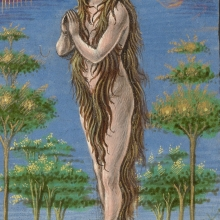 Hairy Mary II . Mary Magdalene Borne Aloft Gualenghi-d'Este Hours, c. 1469, MS. LUDWIG IX 13, f. 190V, The J. Paul Getty Museum.