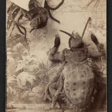 "American Vaudeville team 'The Athols' perform their ""Spider and the Fly"" routine. Late 19th century . From the collection of the Houghton Library, Harvard University"