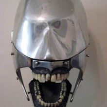 An early 1930′s Dental Phantom, made of an aluminum skull with steel gums for dental student practice.
