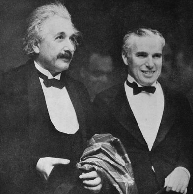 Charlie Chaplin and Albert Einstein at the premiere of CITY LIGHTS in 1931.