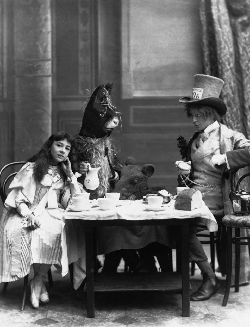 """The Mad Hatter's Tea Party from """"Alice in Wonderland"""" at the Opera Comique Theatre in London, 1898"""